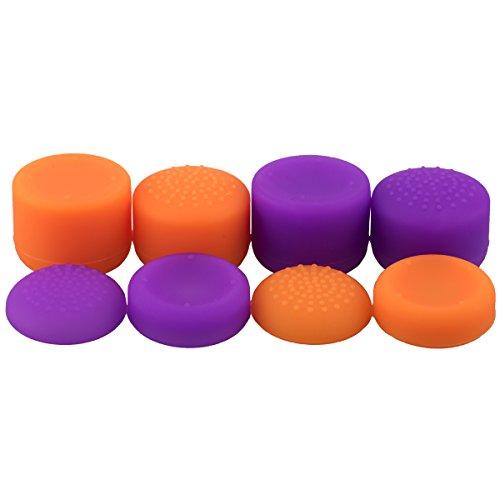 9CDeer 8 Piezas 4 Estilo de Silicona Aumentadas Puños de Pulgar Thumb Grips Thumbstick Joystick de la Palanca de Mando Palos Analógicos Cubierta Protectora de la Tapa para PS4, Switch PRO, PS3, Xbox 360, WiiU Mando naranja violeta