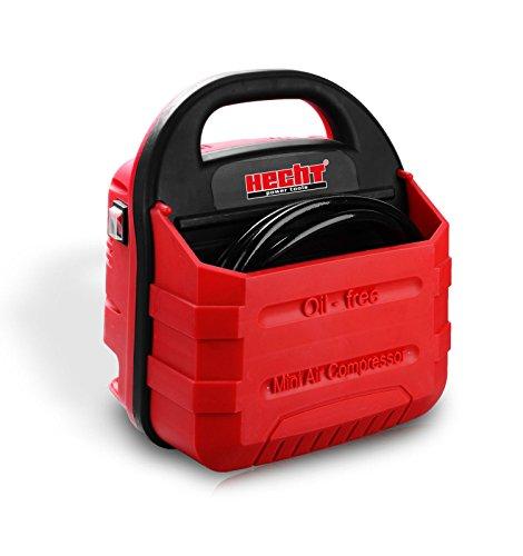 Hecht 2881 Kompressor Kit tragbar Koffer-Kompressor (1100 W, 180 l/min, 8 bar inkl. Schlauch und Zubehör, Ölfrei, Ausblaspistole)