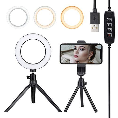 mit Stativständer & Handyhalterung für Live-Stream/Make up, Dimmbares Desktop Selfie Ring Licht mit 3 Lichtmodi & 10 Helligkeitsstufen für YouTube Video/Fotografie ()
