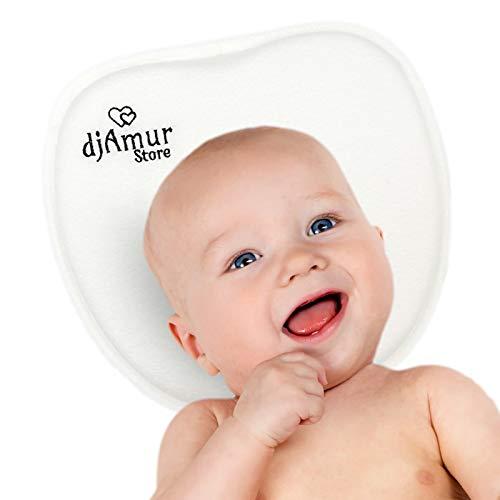 djAmurstore Cuscino Prevenzione E Cura Testa Piatta Neonato Plagiocefalia | Prevenzione E Cura Testa Piatta | Memory Foam | Poggiatesta Nascita Bebe Nanna | Colore Bianco