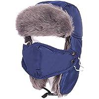 Zxcvb Protección Facial Orejeras Más máscara de Terciopelo Lei Feng Hat Protección para Montar al Aire Libre Cuello Grueso y cálido Sombrero (Color : Azul, tamaño : One Size)