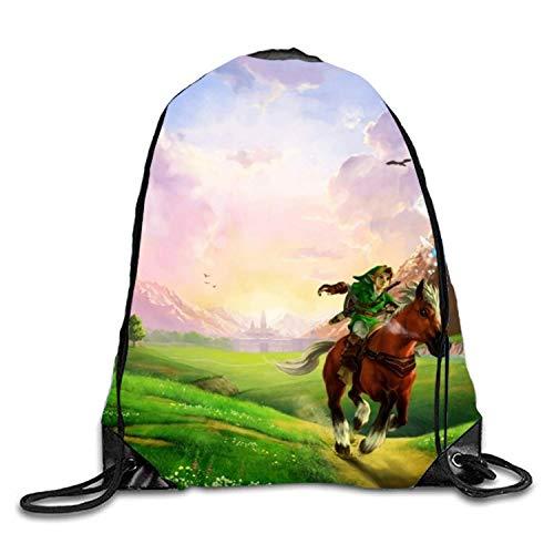 ERCGY Personality Legend of Zelda Ocarina Gym Drawstring Shoulder Bag Backpack