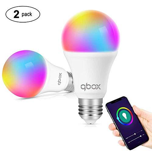Lampadina Smart Led Wifi Intelligente E27 | Funziona Con Smart Life Google Home Assistant Amazon Alexa IFTTT | Smart Bulb Luce Led RGB 7W Multicolore | Controllo A Distanza Timer | 2 Unita