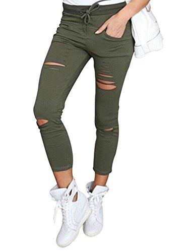 Minetom Damen Punk Stil Jeans Bleistift Dünn Zerrissen Hoch Taille Strecken Jeanshose Skinny Hochbund Hose Grün EU S (Jean-stil Hose)