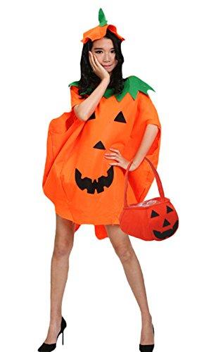 Petitebelle zucca di Halloween costume partito indossare unisex adulto Abbigliamento Borsa Set Orange Etichettalia unica
