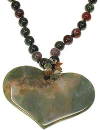 a0d849a74e22 Semi Precious ágata tono piedra Bead y gran corazón colgante Gargantilla  Collar