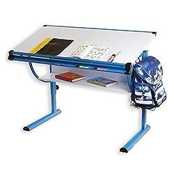 IDIMEX Kinderschreibtisch Schülerschreibtisch BLUE in weiß blau höhenverstellbar neigungsverstellbar