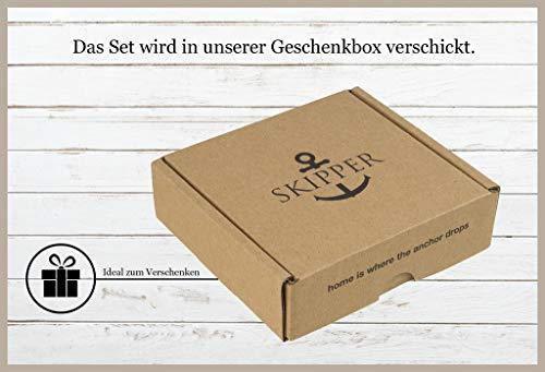 Skipper Partner-Armbänder aus Leder 2er Set mit Schwarzem Edelstahl Anker für Paare - Bordeaux + Schwarz 7155