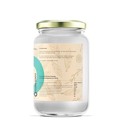 Bio Kokosöl CocoNativo - 1000mL (1L) - Bio Kokosfett, Kokosnussöl, Premium, Nativ, Kaltgepresst, Rohkostqualität, Rein (1000ml) - zum Kochen, Braten und Backen, für Haare und Haut - 3