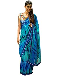 Isha Enterprise Georgette Sky Blue Thread Work Designer Saree