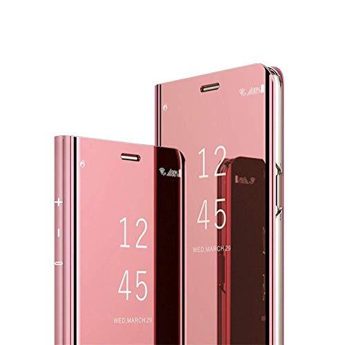 Hnzxy Compatible con Funda Xiaomi Mi 8 Lite Carcasa Espejo Mirror Funda PU Cuero Flip Caso Brillante Translucent Window View Funda Protector de teléfono [Magnético] [Soporte Plegable],Oro Rosa