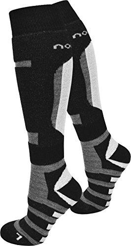 normani 3 Paar gepolsterte Skisocken Sport mit Schafwolle und Elasthan Farbe Ripp/Schwarz/Grau Größe 43/46 (Acryl-ripp-socken)