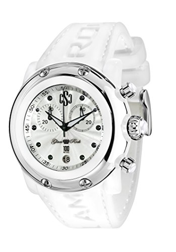Glam Rock Watches Unisex Quartz Watch with White Dial Analogue Display and White Leather Bracelet 0.96.2349