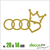 RINGE HERZ KRONE XL 1548 // Sticker OEM JDM Style Aufkleber (Gold)