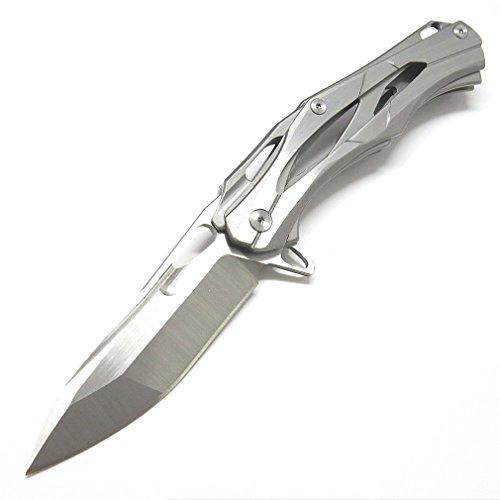 AUBEY EDC Klappmesser Taschenmesser Silber Einhandmesser Outdoor Survival Messer Folder Pocket Knife mit Clip Flipper Kugellagern (Silber)