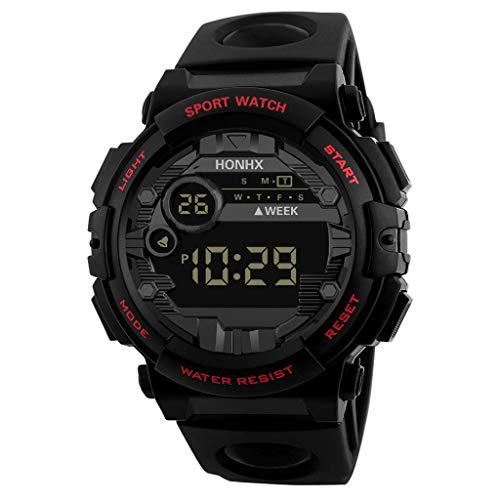 A-Artist Herren Digital Quarz Uhr mit Schwarz Plastic Armband Big Face Military Digitaluhren Outdoor Wasserdicht Sportuhr mit Wecker/Timer/LED Hintergrundbeleuchtung