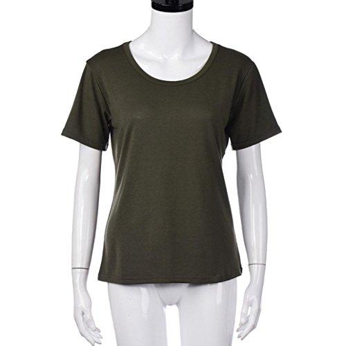 WOCACHI Damen Bluse Frauen Sommer O-Ansatz Pullover T-Shirt Kurzes Hülsen beiläufige Bluse Armeegrün Armeegrün