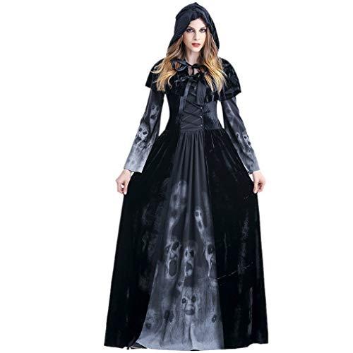 Lomelomme_Halloween Cosplay Kleid Damen Kleider Kurz Party Halloween Kurzarm Kleid Halloween Party Kostüm Frauen Braut Rotkäppchen Umhang rot Hexe Nachtclub Queen(b-Black, L)
