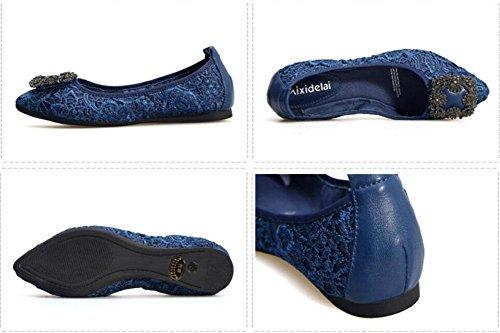 Dobrar Mapeamento Shampoo Azul De Couro Bombas Ovos Ballet Saltos Baixos De Senhoras Europeia Das Mulheres Rasas Calçados Americano Respirável Glter E pqntAB1q
