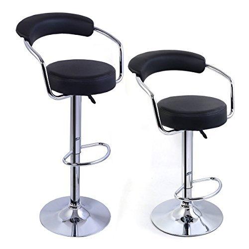 2 Modern Adjustable Counter Swivel Pub Style Bar Stools Barstools Black by PUNER Store