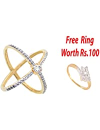 SKN™ Gold & Silver Gold Plated Solitaire Party American Diamond Cross Ring for Women Free 1 Ring (SKN-1422F5)