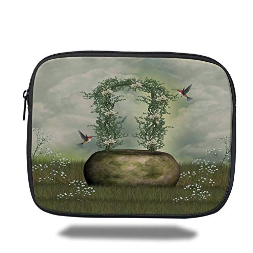 Tablet Bag for Ipad air 2/3/4/mini 9.7 inch,Hummingbirds Decorations,Fairytale Scene with Flowers Stone and Hummingbird Wildflower Arch Cloudy Sky,Bag -