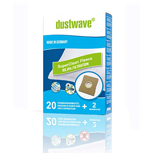 20 Staubsaugerbeutel + 2 Filter passend für Dirt Devil M 7120 - EQU Silence | optimale Filterleistung | Top-Qualität | von dustwave® - Markenstaubfilterbeutel Made in Germany
