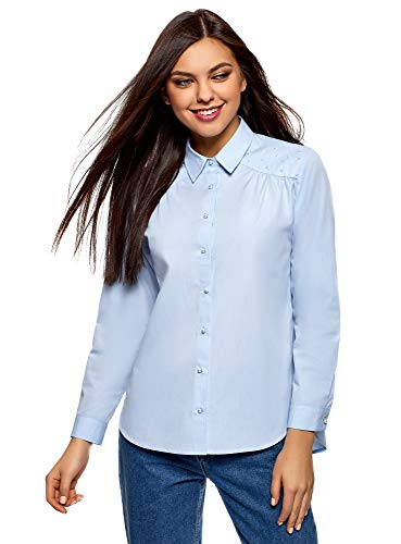 Oodji ultra donna camicia in cotone con decorazioni in perline, blu, it 40 / eu 36 / xs
