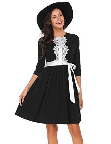 ACEVOG Damen 50s Retro Vintage Rockabilly Kleid Partykleid Cocktailkleid3/4 Arm Festlich Spitze Kleid Tupfen Kleid Hepburn Stil Schwarz