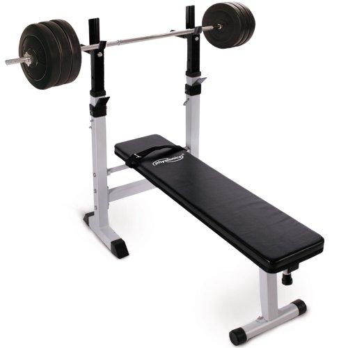 Physionics - Banc de musculation avec repose barre + set haltère long 60 kg