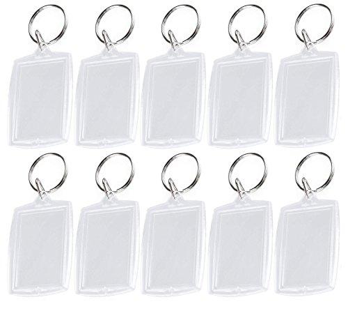 25 Stücke 4x5,5 cm / 1,6x2,2 inch Transparent Acryl Rechteck Leere Foto Schlüsselanhänger Schlüsselanhänger Badge Label Karten Tag Bord Halter Schlüsselbund für Schlüssel Dekoration