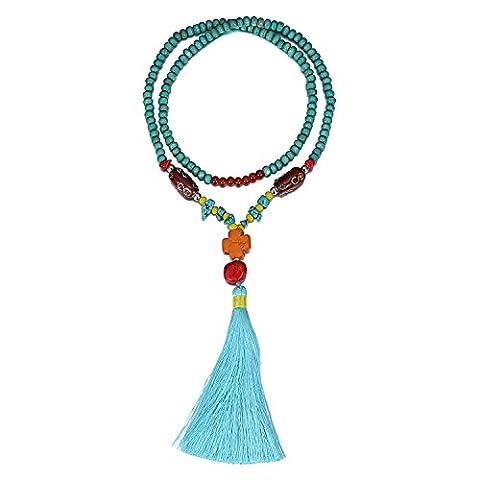 eManco Statement Long Blue Aqua Wood Bead Necklace with Enamel Turquoise Tassel for Women Fashion Jewellery