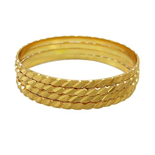 18K Gold Überzogene 4 Stück Armreifen Gesetzt Indischen Traditionellen Bollywood-Armband Schmuck Geschenk 2 * 6
