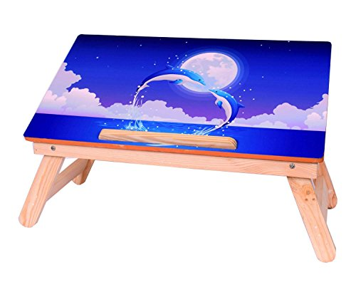 MULTI-TABLE Foldable and Adjustable Wooden Bed Laptop Table - Blue Dolphins Design