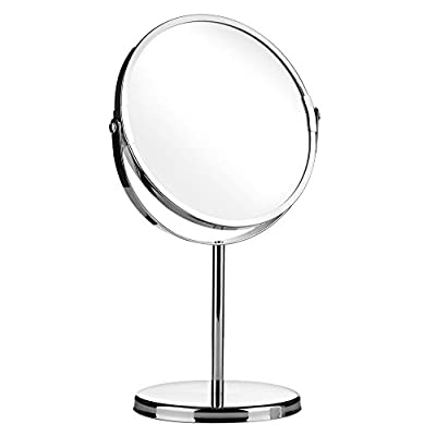 Round Swivel Table Mirror on Stand/Free Standing Bathroom Shaving & Makeup Mirror-Chrome