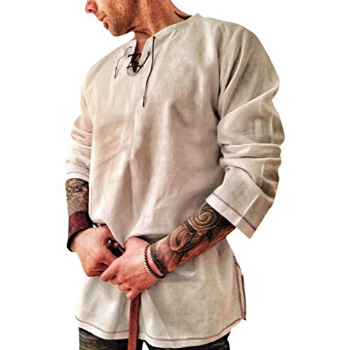 BHYDRY Herren Retro aus Reiner Baumwolle und Hanf Langarm Mode Persönlichkeit Top(X-Large,Khaki) -