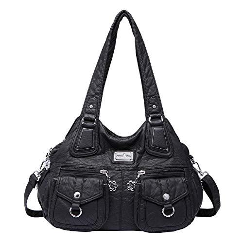 angel kiss Hobo Tasche Schultertaschen Handtaschen Umhängetaschen Henkeltaschen Fredsbruder Taschen Damen Weiches Leder (1593-2-Schwarz) -
