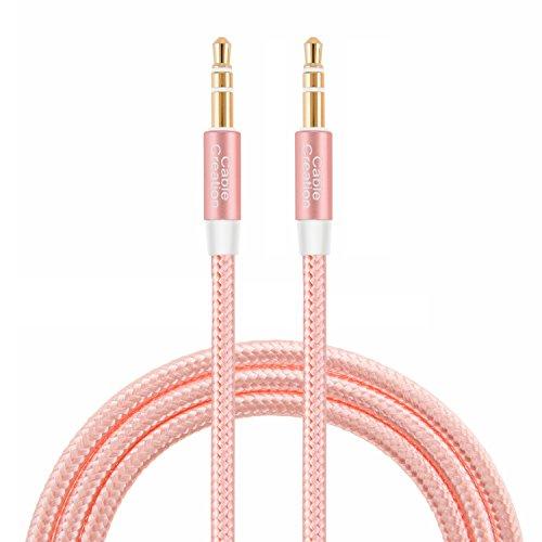 CableCreation 3,5 mm Auxiliary Audiokabel 3 Füße Schlankes und weiches AUX-Kabel für Kopfhörer, iPods, iPhones, iPads, Heimkinos und mehr, 0,9 M (Roségold) Aux Auxiliary Audio