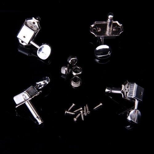 Preisvergleich Produktbild 4 Silber Gitarre Mechaniken Tuning Pegs Taste Tuner Köpfe für Ukulele 2R + 2 L
