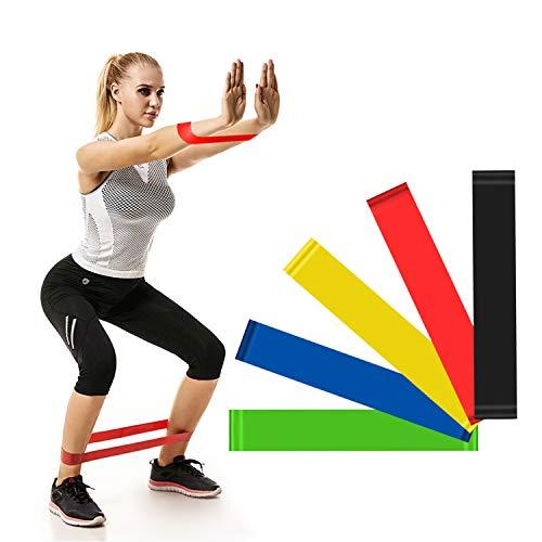 GOLDPOOL Fitnessbänder/Widerstandsbänder, 5er Set von Panathletic, auf Deutsch und Tragebeutel - 5X Fitnessband, Widerstandsband, Gymnastikband, Trainingsb