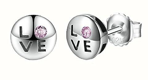 SaySure - 925 Sterling Silver Romantic Love Pink CZ Stud Earrings
