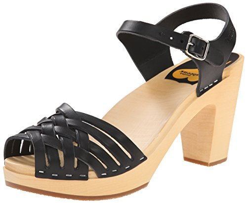 Swedish Hasbeens Braided Sky High, Sandali col tacco Donna Nero (Black / Nature Sole)
