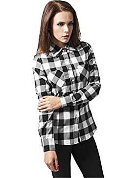 MAG Urban Classics TB388Ladies Checked Flanell Shirt Camisa Mujer Streetwear Hemden, blk/wht, XL
