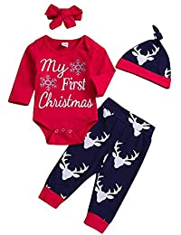Ansenesna Weihnachten Kostüm Baby Mädchen Junge Weihnachts Soft Elegant Kleidung Cartoon Strampler + Hose + Mütze + Haargurt