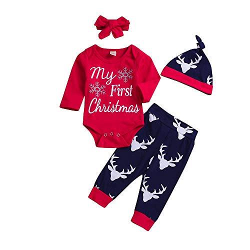 Baby Weihnachten Langarm Brief Top Deer Skin 4 Stück Set 4 Stück Weihnachten Renaissance Boy Brief...