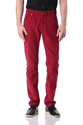 Pau1Hami1ton Herren Cordhose aus Baumwolle Skinny-fit Kordsamt Corduroy Hosen - PH-06(34,Red) Cords Corduroy Pants