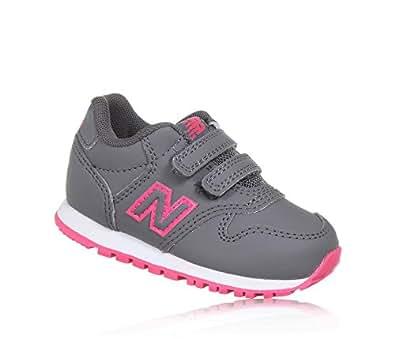 New balance KV500PNI, sneakers bambina con doppio velcro, Grey-Pink (grigio-rosa) (20 EU)