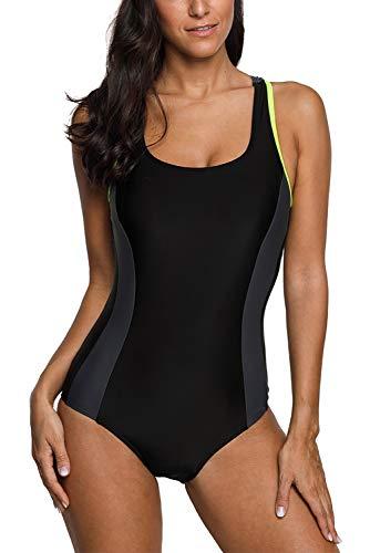 Vegatos Damen Einteiliger Badeanzüge Racer-Back Sportlicher Bademode Elegance Performance Colorblock Navy Streifen XL