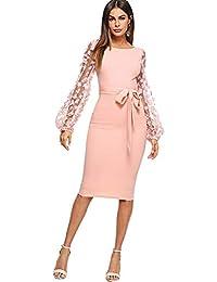 90cd24c7a89bcd DIDK Damen Netz Figurbetontes Kleid Schlauch Kleider mit Knoten Gürtel  Stickerei Blumen Applikation…