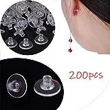 YA-Uzeun Ohrring-Verschlüsse, aus Gummi, transparent, 200 Stück